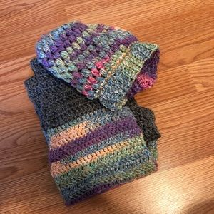 Other - Scarf and slouch hat, purple, pink, grey